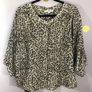 LOFT Leopard Animal Print Balloon Sleeve Blouse